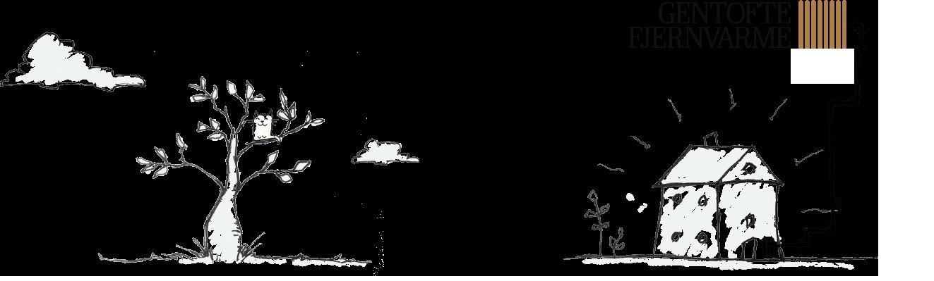 Illustration af hus med fjernvarme